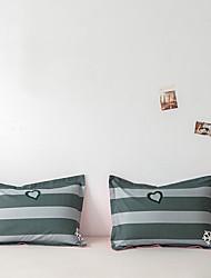 cheap -2 Pack 50*75cm Pillowcases/Pillow Shams Print Soft Microfiber Striped Heart