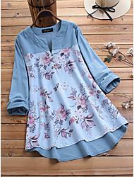 cheap -Women's Plus Size Tops Shirt Print Long Sleeve V Neck Light Blue Blushing Pink Big Size L XL 2XL 3XL 4XL