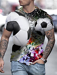 cheap -Men's Unisex Tee T shirt Shirt 3D Print Graphic Prints Football Soccer Football player Print Short Sleeve Daily Tops Casual Designer Big and Tall White / Summer