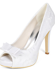 cheap -Women's Wedding Shoes Stiletto Heel Peep Toe Lace Bowknot Floral White Light Purple Ivory