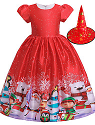 cheap -Snowman Flapper Dress Dress Party Costume Girls' Movie Cosplay Cosplay Red Dress Hat Christmas Halloween New Year Polyester