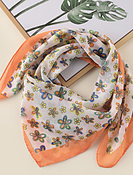 cheap -Women's Square Scarf Daily Wear Multi-color Scarf Floral / Color Block / Polyester