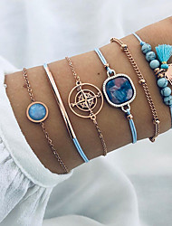 cheap -6pcs Women's Bracelet Geometrical Heart Stylish Simple Boho Plastics Bracelet Jewelry Blue For Daily Promise