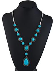 cheap -long necklace, geometric gemstone drop pendant accessory sweater chain