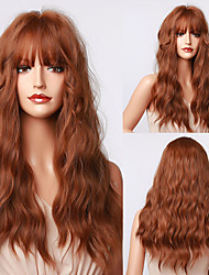 cheap -Synthetic Wig Wavy Natural Wave With Bangs Wig 24 inch sepia Synthetic Hair Women's Natural Fashion Exquisite Brown Ombre