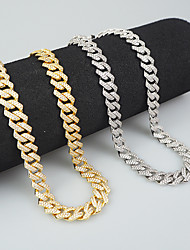 cheap -Cuban Chain Link Necklace European Alloy Silver 55 cm Necklace Jewelry For Gift Festival