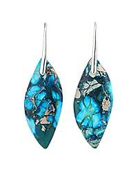 cheap -mengpa imperial jasper natural stone drop earrings for women leaf shape blue us4554b