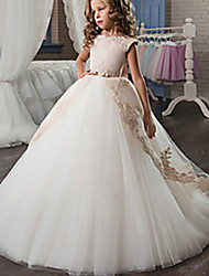 cheap -A-Line Court Train Flower Girl Dresses Wedding Satin Short Sleeve Jewel Neck with Appliques