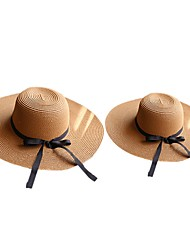 cheap -Mommy and Me Straw Hats Solid Color Bow Khaki Black Beige Vacation Matching Outfits