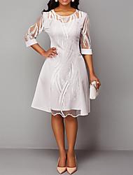 cheap -Women's Sheath Dress Knee Length Dress White 3/4 Length Sleeve Solid Color Fall Spring Elegant Mesh S M L XL XXL