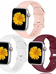 cheap -easuny bands compatible with apple watch 40mm 38mm women men - sport silicone wristbands replacement strap accessories for iwatch se & series 6/5/4/3/2/1, 3 pack of pink sand/white/wine red, small