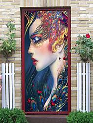 "cheap -2pcs Self-adhesive Creative Door Sticker Peerless Beauty Living Room Diy Decoration Home Waterproof Wall Sticker 30.3""x78.7""(77x200cm), 2 PCS Set"