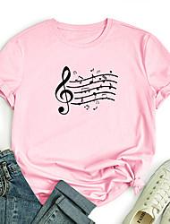 cheap -Women's T shirt Music Print Round Neck Basic Tops 100% Cotton White Purple Red