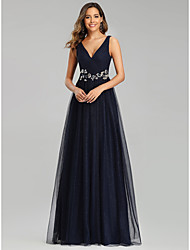 cheap -A-Line Empire Prom Formal Evening Dress V Neck Sleeveless Floor Length Tulle with Sequin Appliques 2021