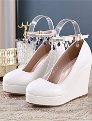 cheap -Women's Wedding Shoes Wedge Heel Round Toe Wedding Pumps PU Pearl Sparkling Glitter Buckle Solid Colored White Blue