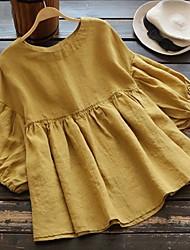 cheap -Women's Plus Size Tops Blouse Shirt Solid Color Short Sleeve U Neck Yellow White Black Big Size L XL 2XL 3XL 4XL