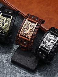 cheap -cowhide metal exaggerated texture punk leather ultra wide bracelet
