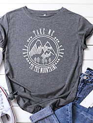cheap -summer womens take me to the mountains personality letter print s-5xl size tee casual short-sleeve girl t-shirt top& #40;light-gray& #41;