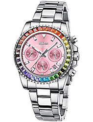 cheap -womens watches pink diamond chronograph stainless steel waterproof date analog quartz watch business casual fashion wrist watches for women