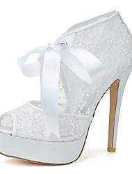 cheap -Women's Wedding Shoes Stiletto Heel Peep Toe Lace Ribbon Tie Floral White Black Pink