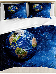 cheap -3-Piece Duvet Cover Set Hotel Bedding Sets Comforter Cover with Soft Lightweight Microfiber Earth Starry Sky Include 1 Duvet Cover 2 Pillowcases for Double/Queen/King(1 Pillowcase for Twin/Single)