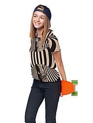 cheap -Kids Girls' T shirt Tee Short Sleeve 3D Print Leopard Animal Unisex Print Light Brown Children Tops Summer Active Daily Wear Regular Fit 3-12 Years