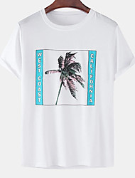 cheap -Men's Unisex Tee T shirt Hot Stamping Graphic Prints Coconut Tree Letter Plus Size Print Short Sleeve Casual Tops Cotton Basic Designer Big and Tall White