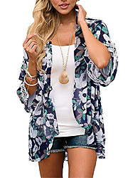 cheap -Women's Swimsuit Cover Up Beach Top Swimsuit Print Floral Blue Gray Black Navy Blue Swimwear V Wire Bathing Suits New Casual / Padless