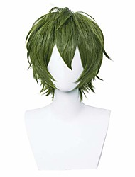 cheap -halloweencostumes alacos short fashion spiky layered anime cosplay wig halloween christmas carnival dress up pretend play party wig gift+cap (verde green)