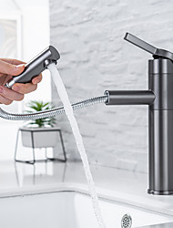 cheap -Bathroom Sink Faucet - Rotatable / Pull out Painted Finishes Centerset Single Handle One HoleBath Taps