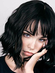 cheap -Natural Black Hair Wigs with Air Bangs for Black Women 12 Inches Short Wavy Bob Wigs with Bangs Synthetic Cosplay Wig for Girl Costume Wigs(Natural Black)