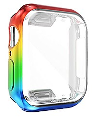 cheap -rainbow gay pride case for apple watch series 6 44mm men,lgbtq iwatch 44 mm face cover bumper iridescent screen protector, smartwatch accessories series6/5/se round defense edge stuff coming out gifts