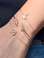 cheap -3pcs Women's Bracelet Geometrical Heart Stylish Simple Alloy Bracelet Jewelry Silver / Golden For Daily Promise