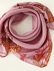 cheap -Women's Square Scarf Party Blue Scarf Floral Chiffon Pink Fall Spring