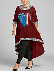 cheap -Women's Plus Size Dress Swing Dress Maxi long Dress 3/4 Length Sleeve Graphic Flag Sequins Casual Summer White Wine Black XL XXL 3XL 4XL 5XL