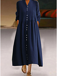 cheap -Women's A Line Dress Midi Dress Blue White Long Sleeve Solid Color Summer Casual 2021 L code (120-140 kg) XL code (140-160 kg) M code (100-120 kg) 2XL code (160-180 kg) / Cotton / Cotton