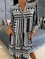 cheap -Women's Swing Dress Knee Length Dress Black Long Sleeve Stripes Spring Summer Casual 2021 S M L XL XXL XXXL
