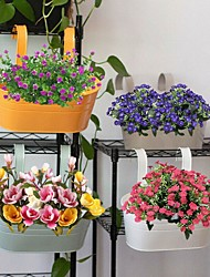 cheap -1pcs Colorful Hanging Flower Pots Metal Iron Balcony Garden Plant Planter With Detachable Hook For Home Decor
