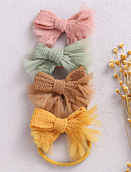 cheap -1pcs Baby Girls' Vintage Geometric Braided Nylon Hair Accessories Yellow / Blushing Pink / Green Kid onesize / Headbands