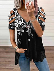 cheap -Women's Holiday Floral Theme Blouse Eyelet top Shirt Floral Color Block Leopard Cut Out Zipper Flowing tunic V Neck Basic Streetwear Tops Black+White colourful Aqua green / Print