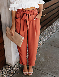 cheap -Women's Basic Fashion Comfort Pants Linen Daily Work Pants Plain Full Length Pocket Elastic Drawstring Design Orange