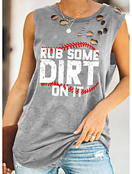cheap -Women's Tank Top Vest Graphic Letter Cut Out Print Round Neck Basic Streetwear Tops Cotton Gray