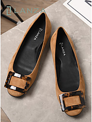cheap -Women's Flats Round Toe Work Office Suede Solid Colored Khaki Black