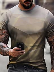 cheap -Men's Tee T shirt Shirt 3D Print Graphic Geometric Technology Plus Size Short Sleeve Casual Tops Basic Designer Slim Fit Big and Tall Blue Purple Gray