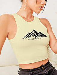 cheap -Women's Tank Top Graphic Letter Print Round Neck Sexy Tops White Blushing Pink Black / Crop