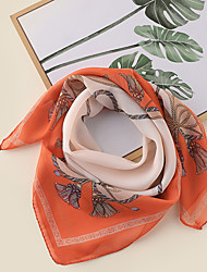 cheap -Women's Square Scarf Party Orange Scarf Color Block Chiffon Pink Fall Spring