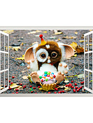 cheap -3D Fake Window Cute Ice Cream Doll Home Children's Room Background Decoration Can Be Removed Stickers