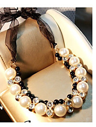 cheap -black ribbon lace necklace double row pearl diamond jewelry adjustable length short chain necklace