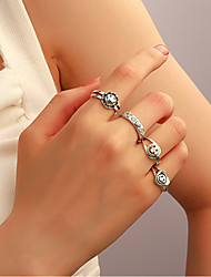 cheap -Smile Face Ring Vintage Style Silver Alloy Heart Letter Star Stylish Rustic / Lodge Simple 1pc One Size