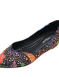 cheap -Women's Flats Hidden Heel Pointed Toe Polyester Rhinestone Light Brown White Black